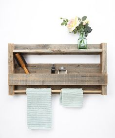 Love this Barnwood Towel Rack/Shelf by DelHutson Designs on #zulily! #zulilyfinds  I think this would be fairly easy to make.  :)