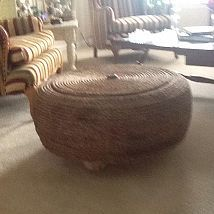 "This is my upcycled ottoman, i made it with an old 26"" tire, plywood,… :: Hometalk#"