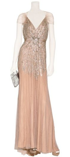 Jenny Packham nude, beaded gown