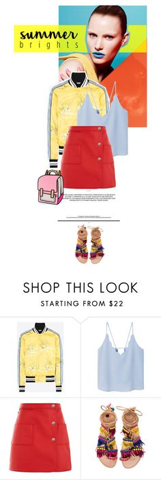 """""""Summer Brights"""" by juhh ❤ liked on Polyvore featuring Valentino, MANGO, Courrèges and Elina Linardaki"""