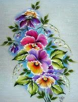 Pintura em Tecido Passo a Passo Com Fotos: Toalha de mesa pintura em tecido amor perfeito