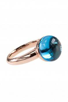 topas ring rosegold rotgold cabochon elegant blau