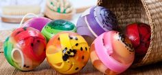 soap spheres with cute embeds