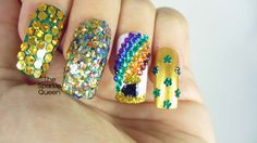 St. Patty's Day - Pot of Gold - Rainbow - Glitter Nail Art -  NAILS IN M...