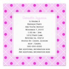 #Pink and #White #Polka-dot  #Invitation By #KCavender