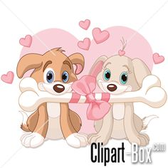 CLIPART DOGS SHARING BONE