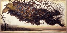 Walton Ford, Falling Bough, 2002, watercolor, gouache, pencil and ink on paper