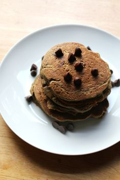 Chocolate Chip Sweet Potato Pancakes | Strength and Sunshine @RebeccaGF666 Healthy gluten-free, vegan pancakes for breakfast.