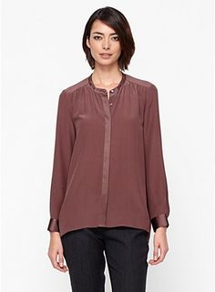 Love this mahogany color:  round neck long silk shirt #EileenFisher