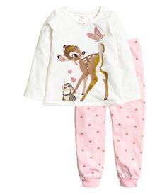 Tricot pyjamatop en -broek | Wit/Bambi | Kinderen | H&M NL