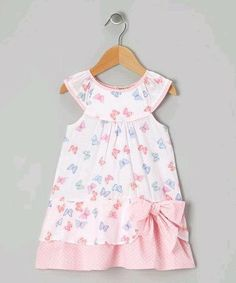 Take a look at this Pink & Blue Butterfly Yoke Dress - Infant & Toddler by P'tite Môm on today! Little Dresses, Little Girl Dresses, Cute Dresses, Girls Dresses, Toddler Dress, Toddler Outfits, Girl Outfits, Infant Toddler, Baby Dress Patterns