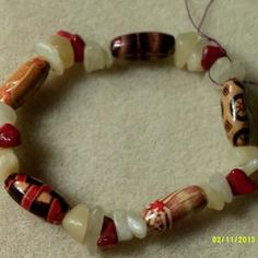 Lovely painted wood beads with Coral and Milky Quartz on sale now, 20% off!!