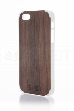 iCASEIT Wood iPhone Case - Genuinely Natural, Unique & Premium quality for iPhone 5 / 5S - Walnut / White