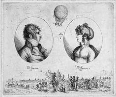 The Parachute Descent of Jeanne Garnerin, via Madame Gilflurt (Monsieur and Madame Garnerin by Christoph Haller von Hallerstein, 1803)