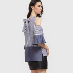 SheIn Women Blouses 17 Navy And White Striped Bow Back Cold Shoulder Ruffle Sleeve Top Half Sleeve Color Block Blouse