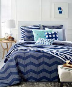 Martha Stewart Whim Collection Spot Chevron 5-Pc. Full/Queen Comforter Set | macys.com