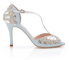 These divine sandals are surely your perfect, 'Something blue'... Designer Wedding Shoes, Bridal Wedding Shoes, Blue Wedding Shoes, Bridal Sandals, Wedding Dresses, Gatsby Wedding, Wedding Favours, Wedding Cakes, Wedding Invitations