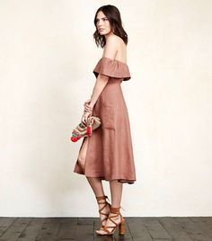 Reformation Mariana Dress in Waverly, an off-the-shoulder midi dress with a button-down front