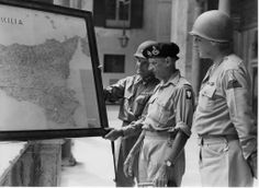 General George S. (right) at the Royal Palace in Palermo with his rival, General Bernard L. Montgomery (center) and General Geoffrey Keyes. Ww2 History, Military History, Ww2 Leaders, National Geographic, Ecuador, Bernard Montgomery, George Patton, Old Blood, Germany Ww2