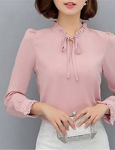 Women& Going out Casual& Work Street chic Spring Blouse,Solid Stand Long Sleeve Polyester Opaque 2017 - Street Chic, Cheap Womens Tops, Top Streetwear, Spring Blouses, Mode Style, Fashion Outfits, Womens Fashion, Fashion Clothes, Blouse Designs