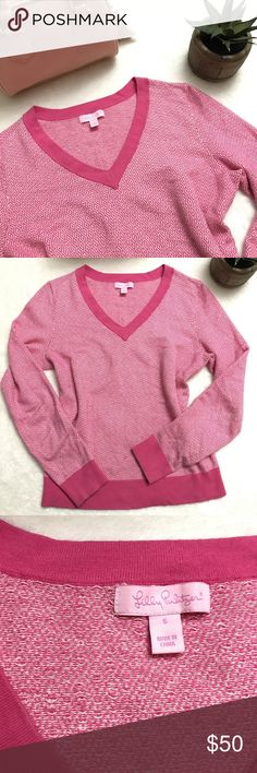 LILLY PULITZER Pink Diamonds V Neck Sweater LILLY PULITZER Pink Diamonds V Neck Sweater size small. Pretty geometric diamonds in pink and white scattered throughout this cozy sweater. Lilly Pulitzer Sweaters V-Necks