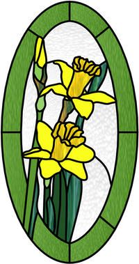 Spring Daffs Stained Glass Pattern from Glass Pattern Source