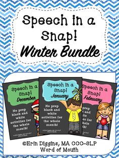 No prep speech therapy activities for December, January, and February! [Word of Mouth]
