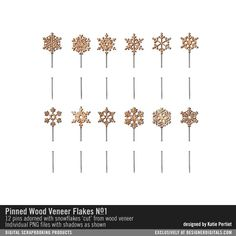 Pinned Wood Veneer Flakes No. 01 wooden snowflakes on stick pins for digital scrapbooking and card making #designerdigitals