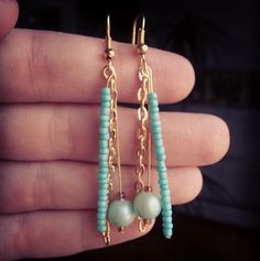 Gold and Turquoise Dangles by totesmagotesshop on Etsy, $10.00