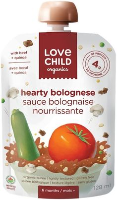 NEW Love Child Organics Savoury Baby Meals: Hearty Bolognese Baby Meals, Wheat Pasta, Bolognese Sauce, Superfoods, Baby Food Recipes, Quinoa, Food To Make, Veggies, Beef