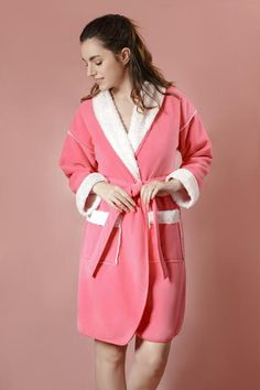 713d52ea21 Suede Feel Fabric Coat Robe with Sherpa Lining (Coral). Suede Feel Fabric  Coat