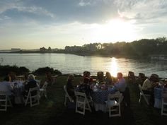 Sea views, sunset, fresh steamers, Lobsters, corn on the cob and cornbread every Monday night Stripers Waterside Restaurant Kennebunkport Maine, Local Seafood, Lobsters, Steamers, Monday Night, Cob, Beautiful Sunset, Cornbread, New England