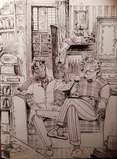 jensuisdraws: Inktober day 2 Aziraphale and Crowley from GOOD OMENS