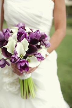 Are you planning a spring wedding? Confuse on what flowers are in trend and season? The answer is tulips! Widely available, and sometimes underrated, tulips are a wonderful addition to a bridal bouquet. Tulip Bridal Bouquet, Calla Lily Wedding, Tulip Wedding, Lily Bouquet, Spring Wedding, Wedding Bouquets, Wedding Dresses, Purple Wedding Cakes, Purple Wedding Flowers