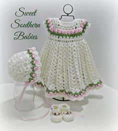 This adorable dress and matching bonnet is made with a silky soft yarn that gives it a beautiful drape. The rose buds on an empire waist makes it perfect for Christmas, Baptism, or any special occasion. ♥ Newborn to 18 months 3 Months: Chest Shoulder t Beau Crochet, Baby Girl Crochet, Crochet Baby Clothes, Baby Blanket Crochet, Baby Knitting Patterns, Baby Patterns, Crochet Patterns, Girls Spring Dresses, Toddler Girl Dresses