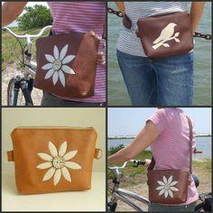 Hip Bag Convertible Pouch Flower Applique by peskycatdesigns