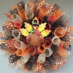 "20"", Turkey Spiral Mesh Fall Wreath. Made by Red-y Made Wreaths. Like & Follow us on Facebook https://www.facebook.com/pages/Red-y-Made-Wreaths/193750437415618 or Visit us at http://www.redymadewreaths.com/"