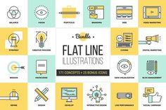 nice Big Pack of Flat Line Illustrations  CreativeWork247 - Fonts, Graphics...