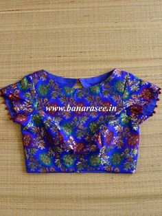 New Saree Blouse Designs, Saree Kuchu Designs, Kids Blouse Designs, Simple Blouse Designs, Blouse Patterns, Hand Designs, Mirror Work Blouse Design, Pure Silk, Royal Blue