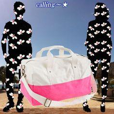 関税・送料込 セレブ愛用★J.CREW★バイカラーキャンバスバッグ 色使い鮮やかなジェー・クルーより、ホワイト×ピンクの  バイカラーがポップなコットンキャンバスバッグです♪