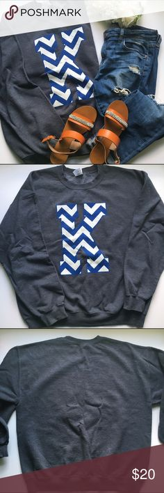 Kentucky K Printed Sweatshirt - gray Relax in this sweatshirt for football season. University of Kentucky crew neck sweatshirt. Dark gray fabric with blue and white chevron print. Extra comfortable fit and very soft material. University of kentucky Tops Sweatshirts & Hoodies