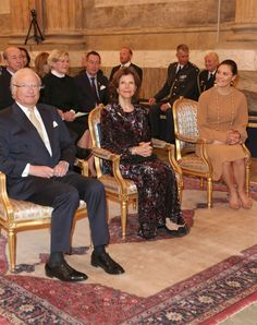King Carl XVI Gustaf, Queen Silvia and Crown Princess Victoria of Sweden attend 'The Bernadotte dynasty and music' concert celebrating the 200th anniversary of the House of Bernadotte's reign at The Hall of State (Rikssalen) in Stockholm Royal Palace on 12 April 2017 in Stockholm, Sweden.