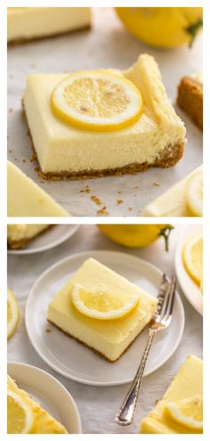 Easy Lemon Cheesecake Bars are perfect for almost any occasion! Made with fresh lemon juice lemon zest cream cheese and sour cream they're tangy sweet and so delicious. A must try for lemon lovers! Lemon Desserts, Lemon Recipes, Just Desserts, Delicious Desserts, Dessert Recipes, Yummy Food, Drink Recipes, Easy Lemon Cheesecake, Cheesecake Cookies