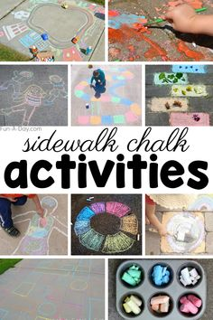 Grab your chalk and head outside with the kids. 20 sidewalk chalk ideas to inspire you and the kids. PLUS DIY chalk recipes in case you don't have any. Early Learning Activities, Gross Motor Activities, Outdoor Activities For Kids, Spring Activities, Preschool Activities, Learning Time, Toddler Fun, Toddler Crafts, Crafts For Kids