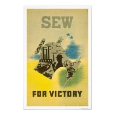 1941 WPA poster. Singer brand ceases development of sewing machines from 1939-1944 to focus on producing war time goods.