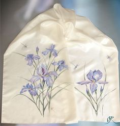 "Silk scarf ""Irises"" silk painting by Lena Korolyuk"