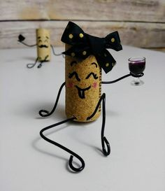 Items similar to Fun Mr. Wine Cork Couple Upcycled Handmade Drunk Wino Figurines on Etsy Fun Mr. Wine Craft, Wine Cork Crafts, Wine Bottle Crafts, Bottle Art, Wine Bottles, Glass Bottles, Diy Crafts Images, Wine Cork Art, Wine Corks