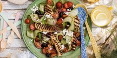 Grilled Chicken with Avocado Tomato Salad and a Cilantro Vinaigrette is the perfect summer dinner for nights outside at the BBQ. Grilling Recipes, Cooking Recipes, Healthy Recipes, Grilling Ideas, Budget Recipes, Sin Gluten, Cilantro, Whats Gaby Cooking, Whipped Feta