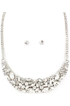 Tiffany Necklace Set in Silver - Layers of Marquise Rhinestones and Crystals set in a Stunning Collier.