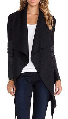 Trendy Solid Black Long Sleeve Coat with Belt